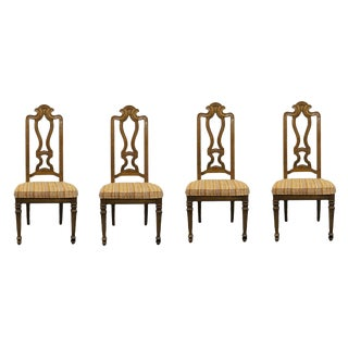 Late 20th Century Drexel Heritage Talavera Collection Spanish Revival Splat Back Side Chairs- Set of 4 For Sale