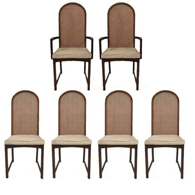 Set of Six Milo Baughman High Back Cane and Walnut Dining Chairs for Directional For Sale - Image 11 of 11