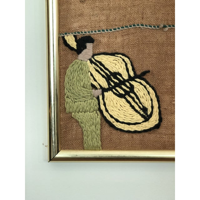 Mid-Century Embroidered Tapestry of Musicians For Sale In Atlanta - Image 6 of 13