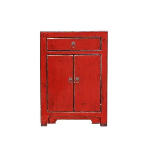 Distressed Oriental Red Lacquer Drawer End Table Nightstand For Sale