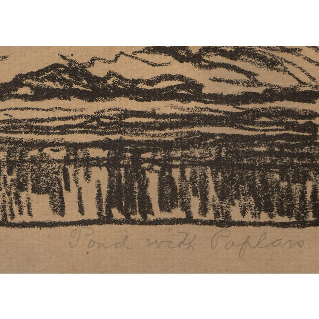 """1923 Birger Sandzen """"Pond With Poplars"""" Original Signed Framed Lithograph For Sale - Image 4 of 10"""