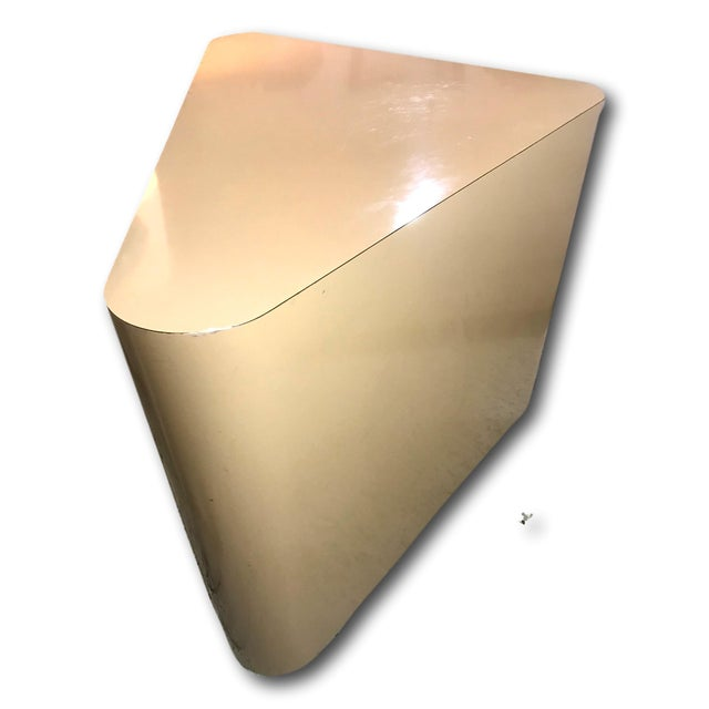 Late 20th Century Minimalist Laminate Triangle Console on Casters in the Manner of Milo Baughman For Sale - Image 5 of 11