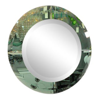 Custom Round Beveled Green Glass Mirror For Sale