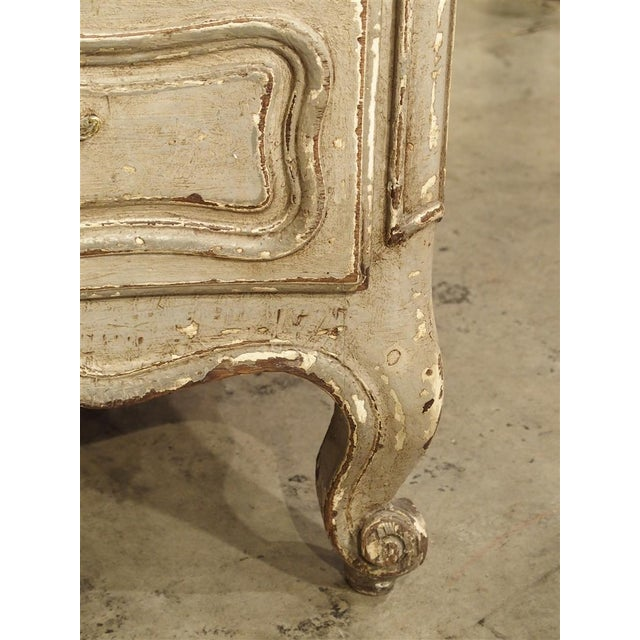 Antique Louis XV Style Painted French Chest of Drawers with Marble Top For Sale - Image 9 of 10