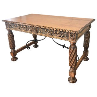 19th Century Pine and Wrought Iron Spanish Desk with Three Drawers with Turning Legs