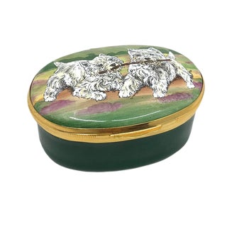 Two West Highland Terriers Enamel Box For Sale