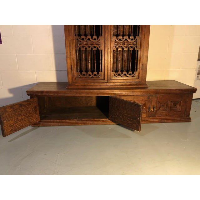 Magnificent Hand Carved Mahogany Gothic Style Bookshelf Cabinet For Sale In Philadelphia - Image 6 of 11