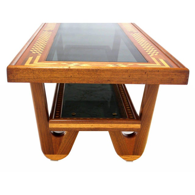 Walnut Smoked Glass Top Marquetry Design Long Coffee Table For Sale In New York - Image 6 of 9