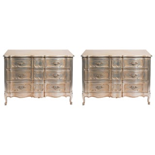 Pair of 1950s Silver Leaf Chests For Sale
