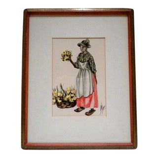 Original Alice Scott Charleston South Carolina Gouache Painting For Sale