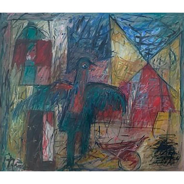 1970s Harriet Tannin Night Intruder Large Painting For Sale - Image 5 of 5
