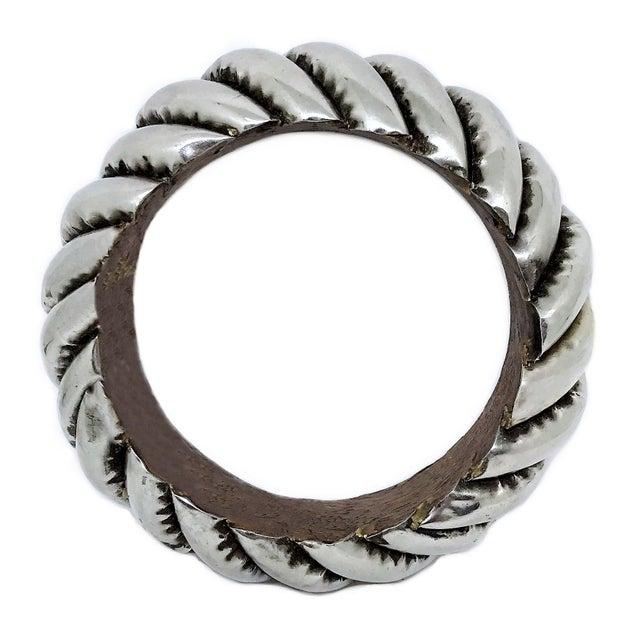 Boho Chic Silver Plated Wood Bangle For Sale - Image 3 of 4
