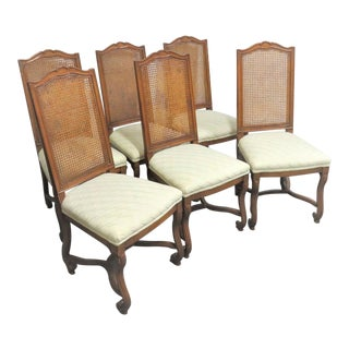 Italian Style Walnut Caned Dining Chairs- Set of 6 For Sale