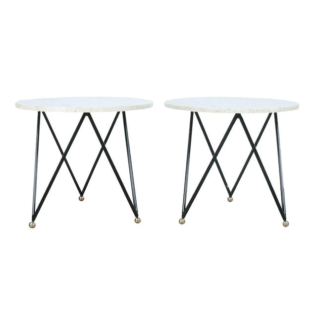 Wrought Iron Marble Top Side Tables - A Pair - Image 1 of 10