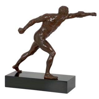 """Fighting Warrior"" (Borghese Gladiator) Grand Tour Antique Bronze Sculpture For Sale"