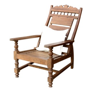 Vintage Teak Colonial Plantation Chair For Sale