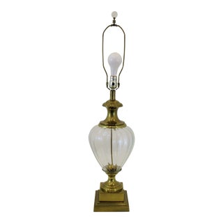 Frederick Cooper Brass and Fluted Glass Table Lamp For Sale
