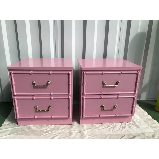 Pink Lacquered Faux-Bamboo Nightstands - A Pair - Image 3 of 8