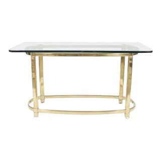 American Brass and Glass Center Table For Sale