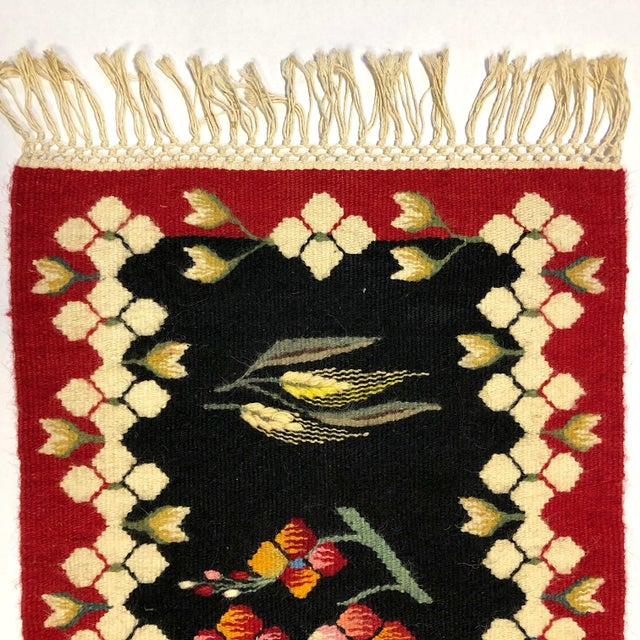 1960's Vintage Romanian Handwoven Kilim Rug- 2′1″ × 1′4″ For Sale - Image 4 of 6