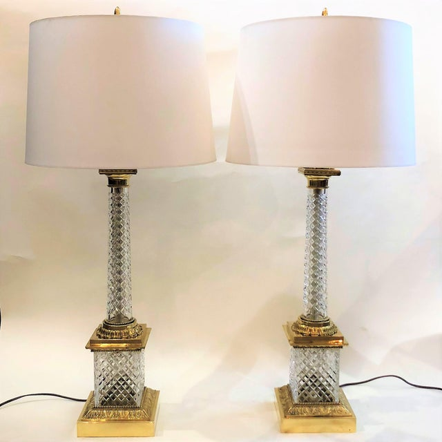 Art Deco Pair Estate Cut Crystal Column Lamps with Ormolu Mounts, Circa 1930-1940. For Sale - Image 3 of 3