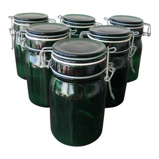 Vintage Green Glass Fruit Jars - Set of 6 For Sale