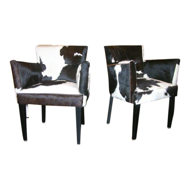 Pair of Custom Black and White Spotted Cowhide Deco Chairs For Sale