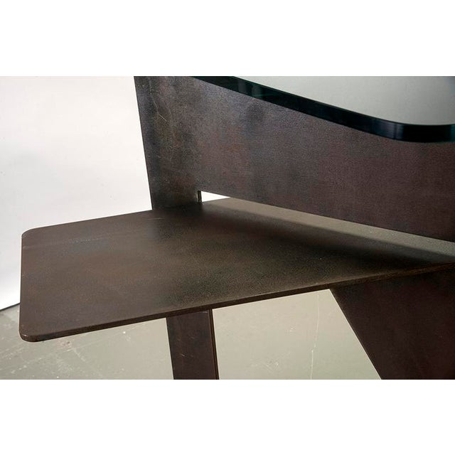Extra Large Brutalist Console with Iron Base and Glass Top For Sale - Image 5 of 9