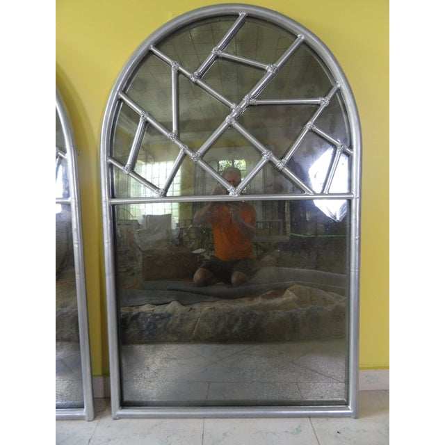 Silver Vintage Art Deco Cracked Ice Mirror For Sale - Image 8 of 8