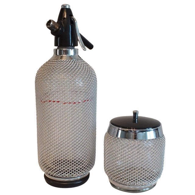 Vintage Wire Mesh Siphon Bottle & Ice Bucket -Pair - Image 1 of 11
