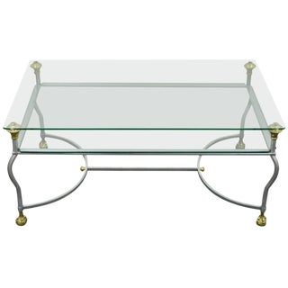 Regency Brass Brushed Steel & Glass Ball and Claw Foot Coffee Table For Sale