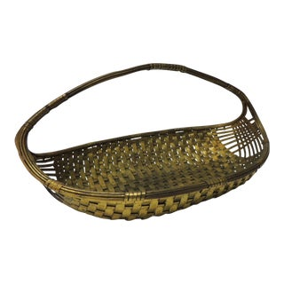 Vintage Flat Brass Decorative Woven Basket With Handle For Sale
