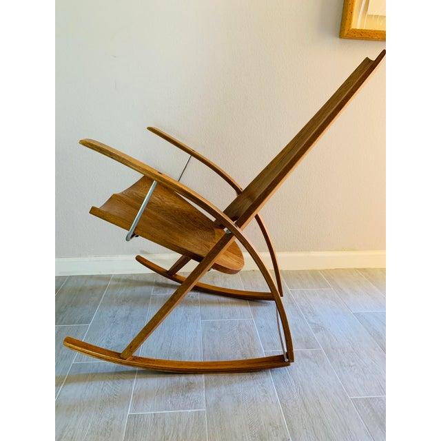 Midcentury Sculptural Rocking Chair - Studio crafted rocking chair by architect Leon Meyer Vintage modern rocker designed...