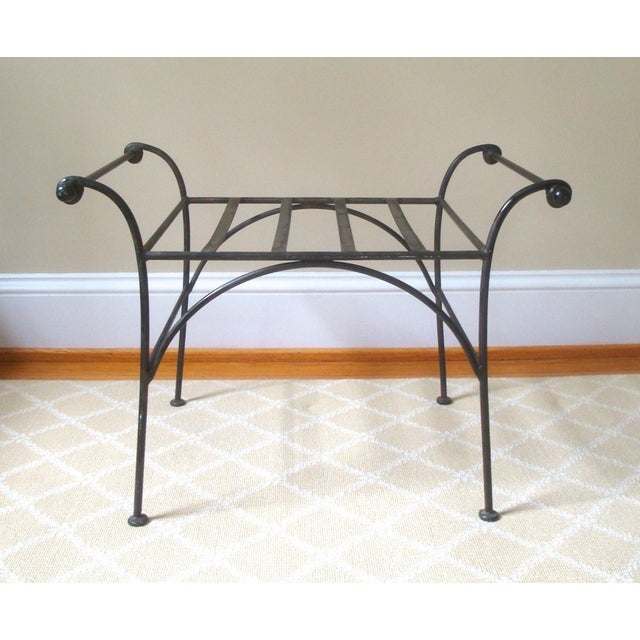 Late 20th Century Iron Regency Cerule Metal Bench For Sale - Image 5 of 5