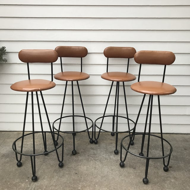 Industrial Vintage Mid-Century Frederick Weinberg Style Iron Hairpin Bar Stools- Set of 4 For Sale - Image 3 of 13