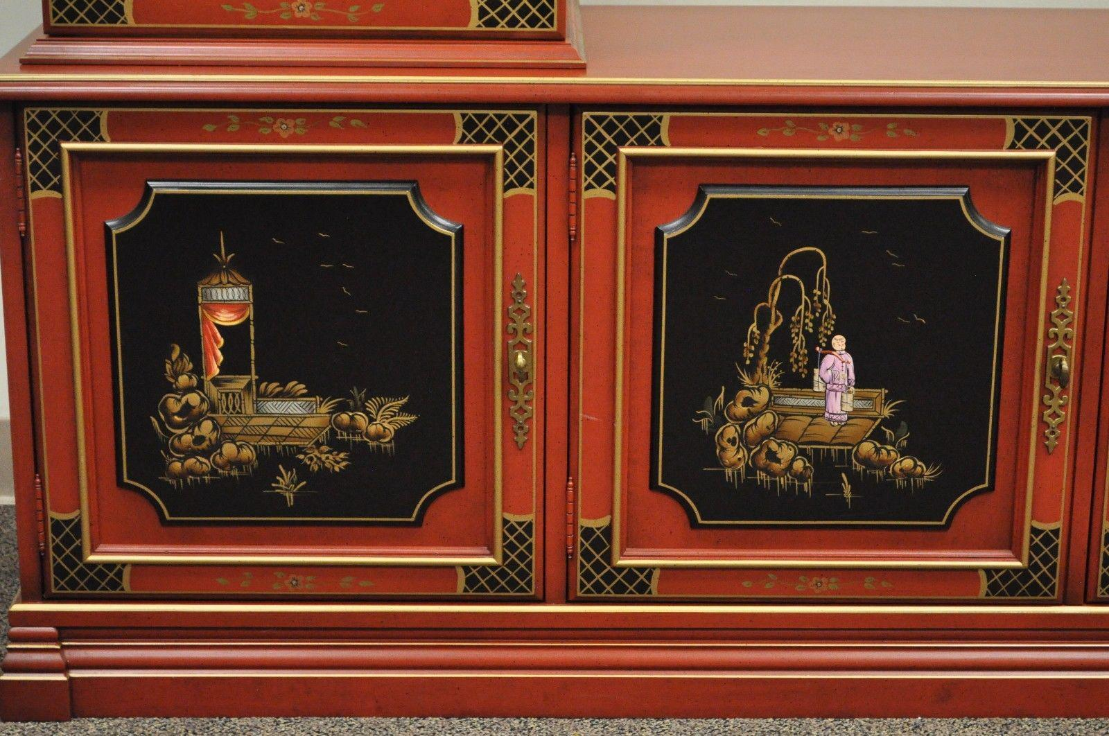 Vintage Jasper Oriental Chinoiserie Red Display China Cabinet Curio  Credenza   Image 5 Of 12