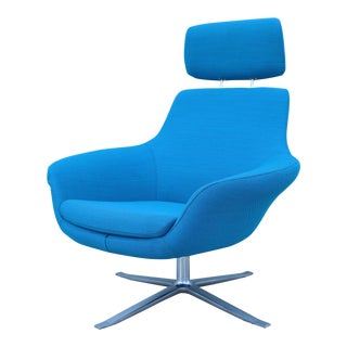 Modern Pearson Lloyd for Coalesse Bob Blue Swivel Lounge Chair For Sale