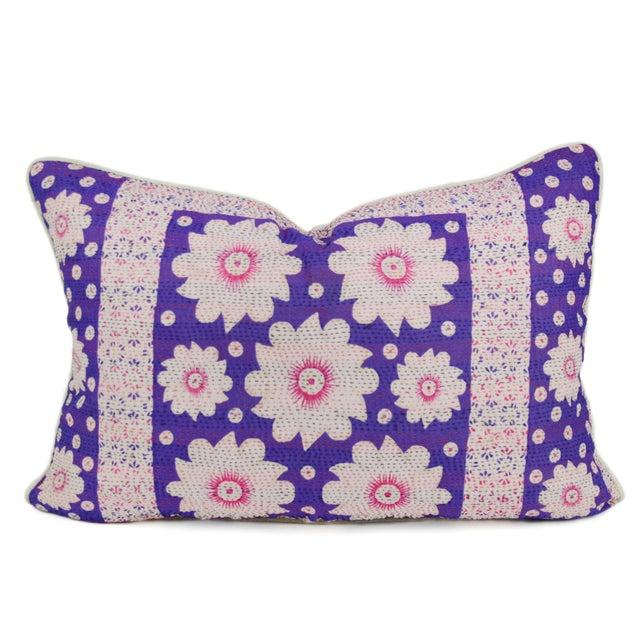 Purple Silk Aubergine Daisy Pillow - Image 1 of 3