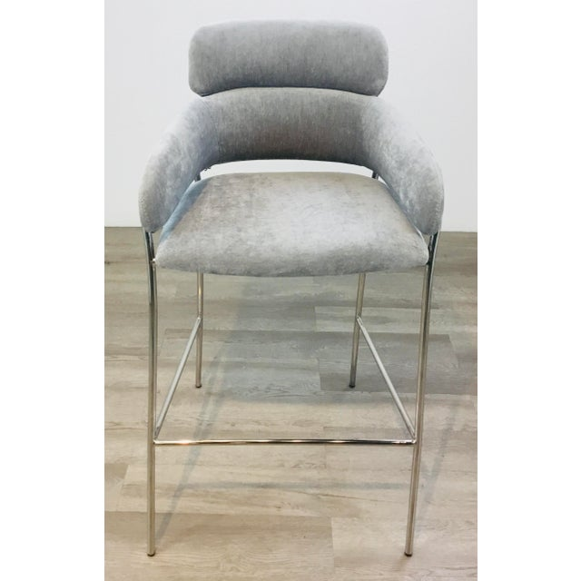 Contemporary Interlude Home Modern Gray Velvet Counter Stools - a Pair For Sale - Image 3 of 8
