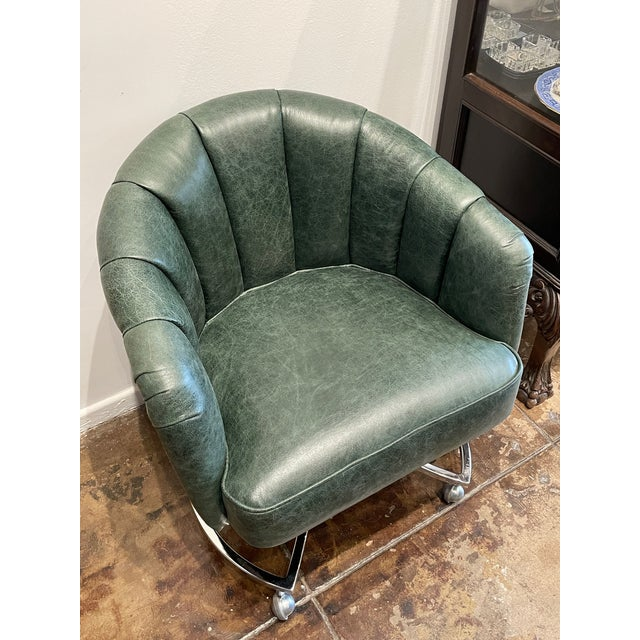 1970s Leather Channel Tufted and Chrome Desk Chair For Sale - Image 4 of 8