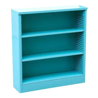 1960s Steel Tanker Style Bookcase in Turquoise, Custom Refinished For Sale