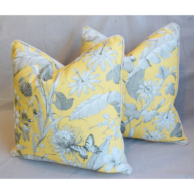 """Yellow Designer English Floral & Nature Linen/Velvet Feather & Down Pillows 24"""" Square - Pair For Sale - Image 8 of 13"""