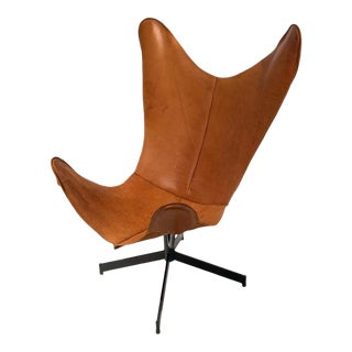 Rare 1960s William Katavolous Sculptural Iron & Luggage Tan Leather Swivel Sling Butterfly Chair For Sale
