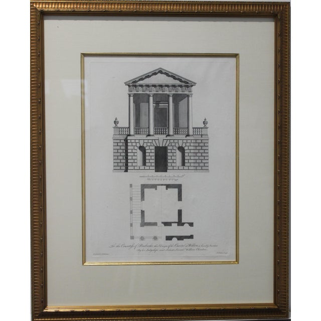 Mid 18th Century Antique 1759 William Chambers Chromolithographs on Architecture - Framed Set of 3 For Sale - Image 5 of 11