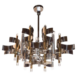 Italian Mid-Century Modern Brass, Chrome and Lucite Chandelier by Sciolari For Sale