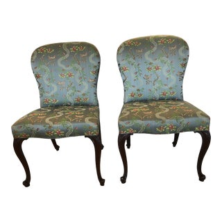 18th Century Georgian Side Chairs Dressed Up in Scalamandre Upholstery -A Pair For Sale
