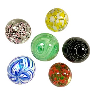 Vintage Glass Paperweights - Set of 6 For Sale