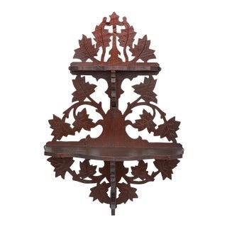 Antique Victorian Carved Walnut Wall Hanging Plant Trinket Shelf For Sale