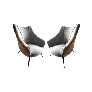 1955 Mid-Century Barrel Shaped Club Chairs, Italy - a Pair For Sale