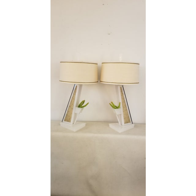 1950s Lucite Moss Studios Lamps With Shades - a Pair For Sale - Image 9 of 10